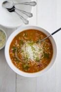 Minestrone Soup with Pesto Oil Drizzle recipe photo