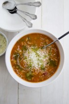 Minestrone Soup with Pesto Oil Drizzle recipe photo