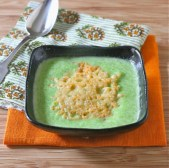 Spring Green Pea Soup with Parmesan Crisps recipe photo