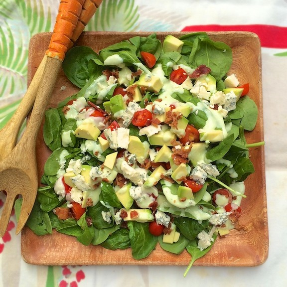 BLT Spinach Salad with Avocado Chive Dressing recipe