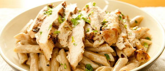 Chargrilled Chicken and Spinach Pasta Salad recipe