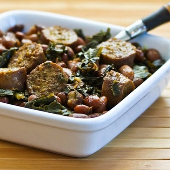 Crockpot Sausage, Beans and Greens recipe