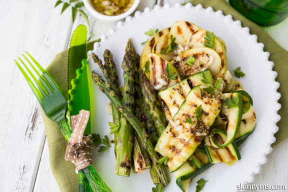Grilled Asparagus, Green Apple, and Zucchini Salad with Mustard Vinaigrette recipe