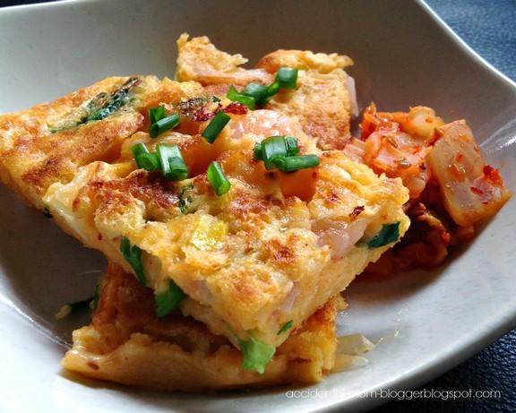 Kimchi and Prawn Pancakes - Pajeon recipe