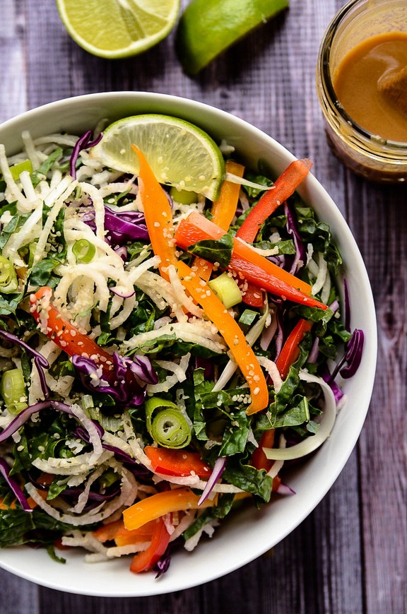 Vegan Jicama Noodle Salad with Creamy Tahini-Ginger Dressing recipe