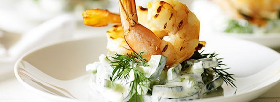 Char-Grilled Prawns with Creamy Cucumber and Dill Salad