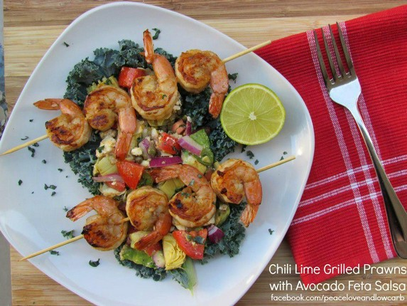 Chili-Lime Grilled Prawns With Avocado-Feta Salsa