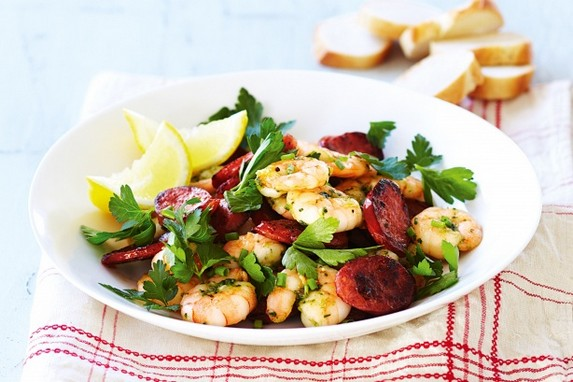 Chorizo and Garlic Prawn Salad