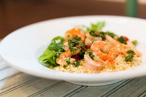 Grilled Prawn Salad Couscous Salad with Jalapeno Dressing