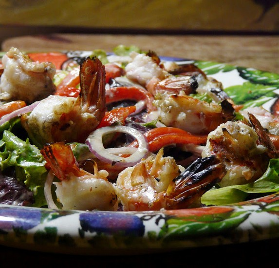 Grilled Prawn and Roasted Red Pepper Salad
