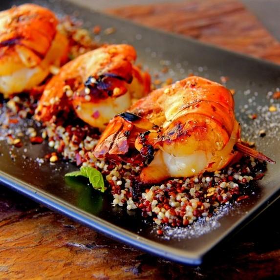 Mango & Chili-Glazed Grilled Prawn with Quinoa & Fresh Greens
