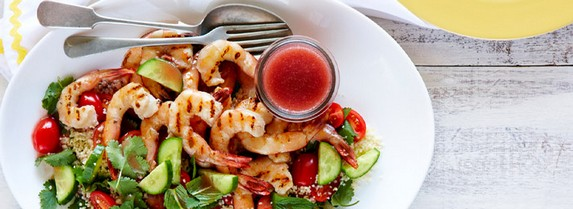 Pomegranate Char-Grilled Prawns with Couscous Salad