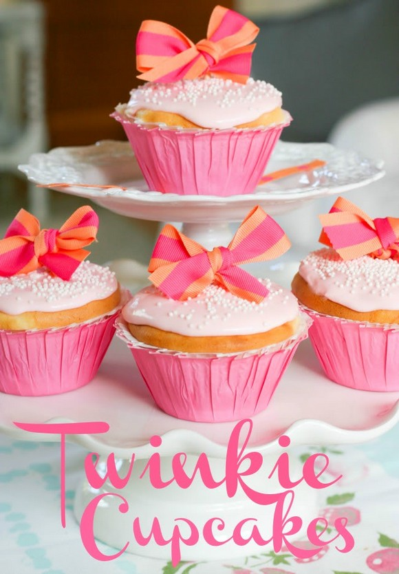 Twinkie Cupcakes with Pink Cherry Frosting