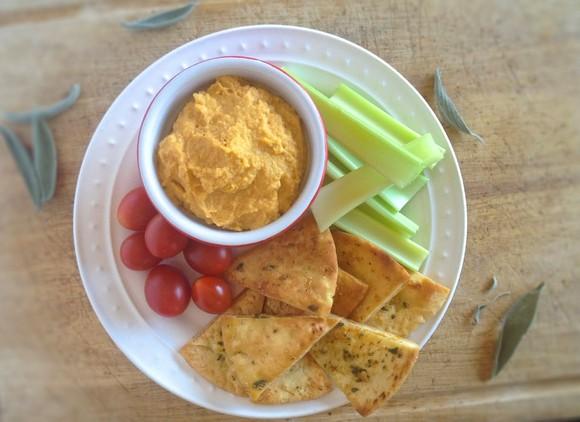 Butternut Squash Hummus with Baked Garlic-Sage Pita Chips