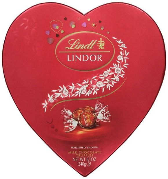 Lindt Lindor Valentine Truffles Gift Box, Milk Heart, 8.5 Ounce