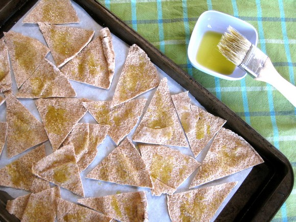 Pita Chips with Labne Olive Oil Dip