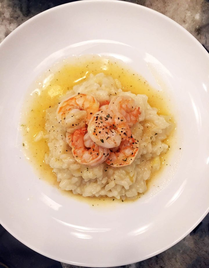 Classic shrimp scampi with risotto milanese recipe