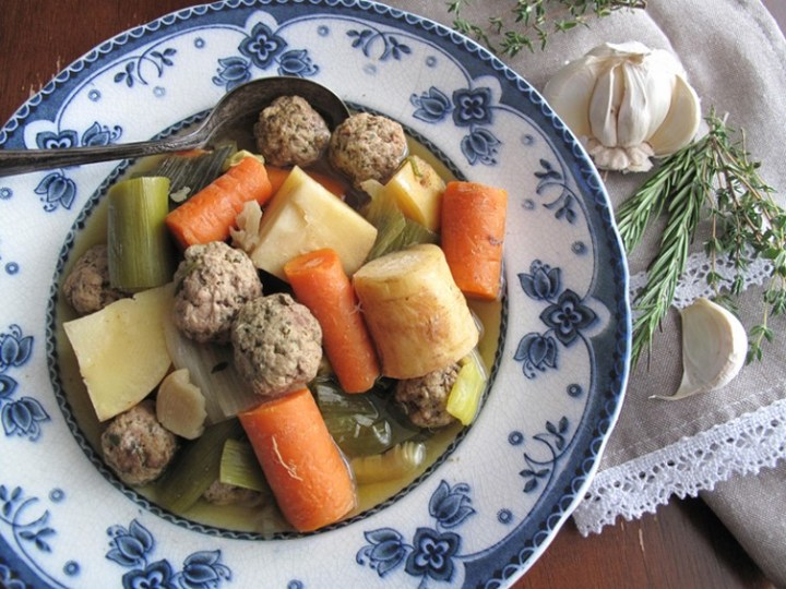 Slow Cooker Paleo Rustic Root Vegetable Soup with Meatballs