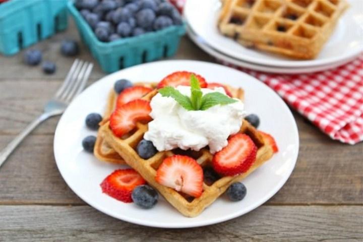 Blueberry Yogurt Waffles