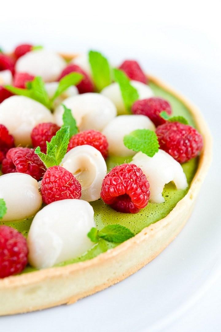 Green Tea, Lychee & Raspberry Tart