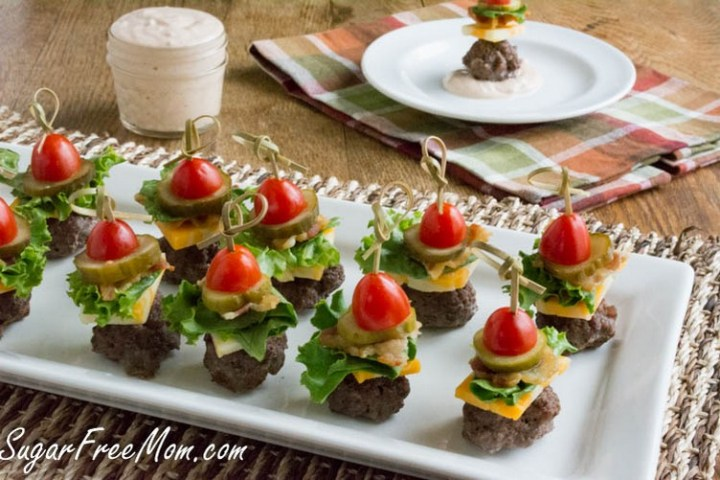 Mini Bun-less Cheeseburger Bites with Thousand Island Dip