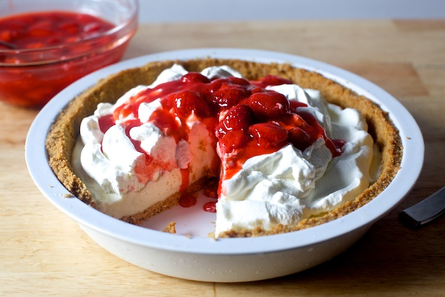 http://smittenkitchen.com/blog/2015/06/strawberry-cheesecake-ice-cream-pie/