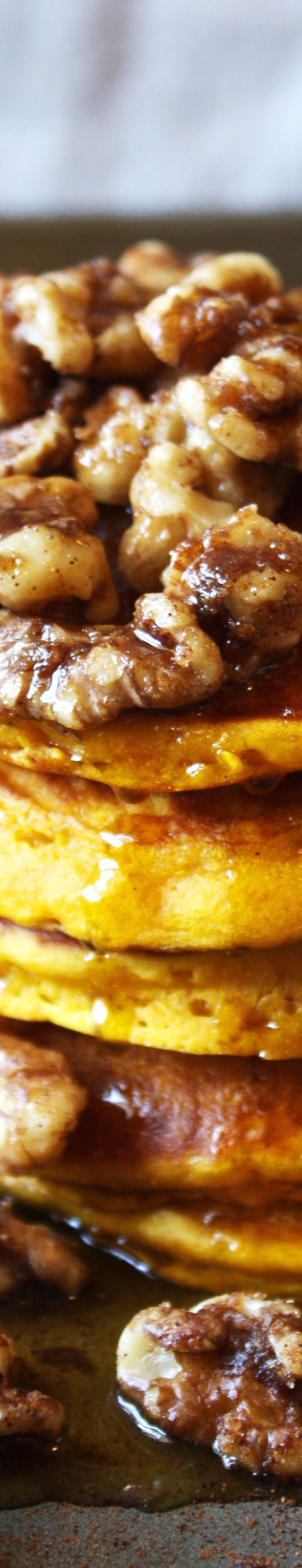 Pumpkin, Maple Pancakes with Brown Sugar Spiced Walnuts
