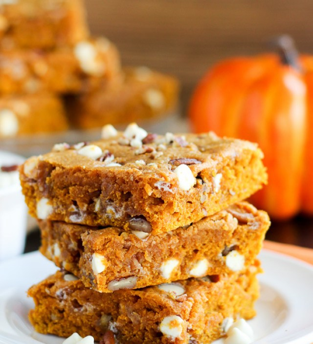 Pumpkin Blondies with White Chocolate