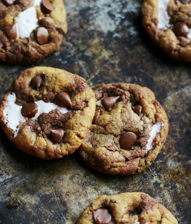 Brown Butter Pumpkin Nutella Chip S'mores Cookies