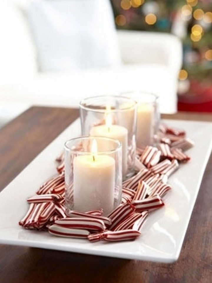 Add shiny peppermint candies to a tray for the simplest centerpiece ever