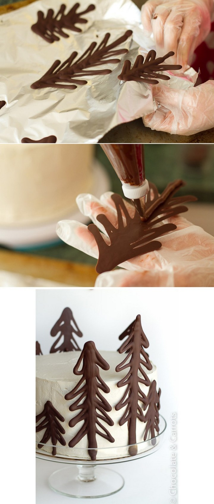 Draw Christmas trees on parchment paper using melted chocolate