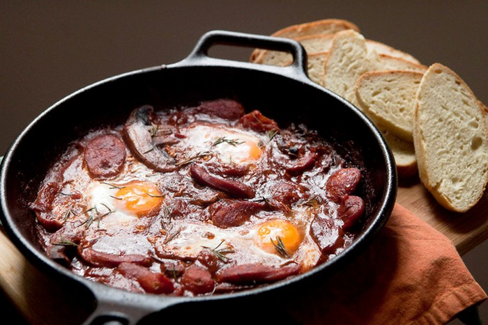 Baked Eggs With Tomato, Chorizo & Mushroom