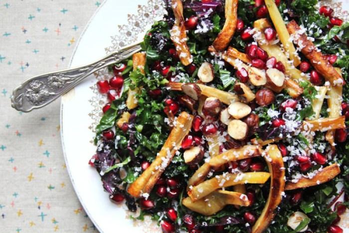 Kale, Pomegranate, and Caramelized Parsnip Salad