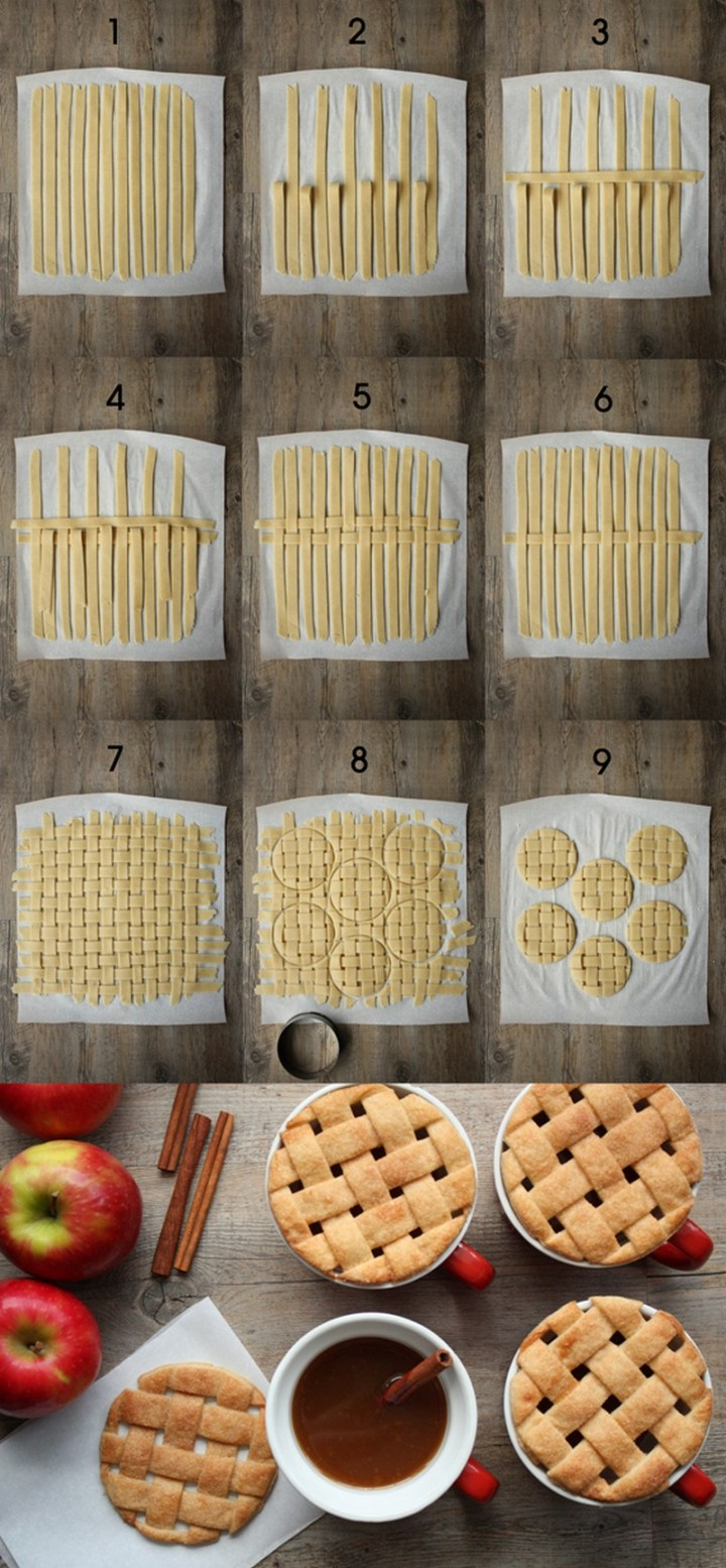 Make lattice-pie mug toppers for your mulled cider