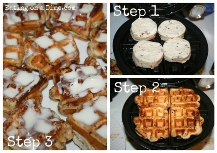 Place cinnamon rolls in the waffle maker for Christmas morning