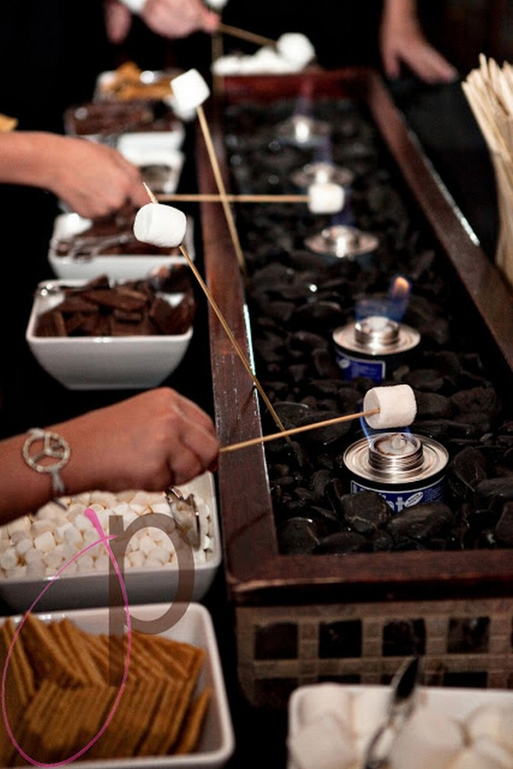 Set out small candles for a s'mores bar