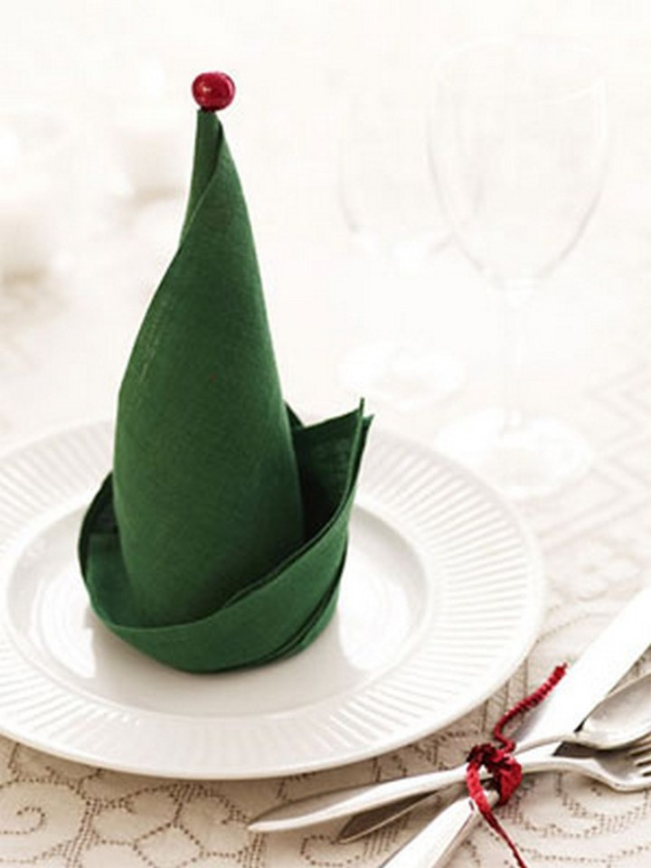Turn your napkins into elf hats