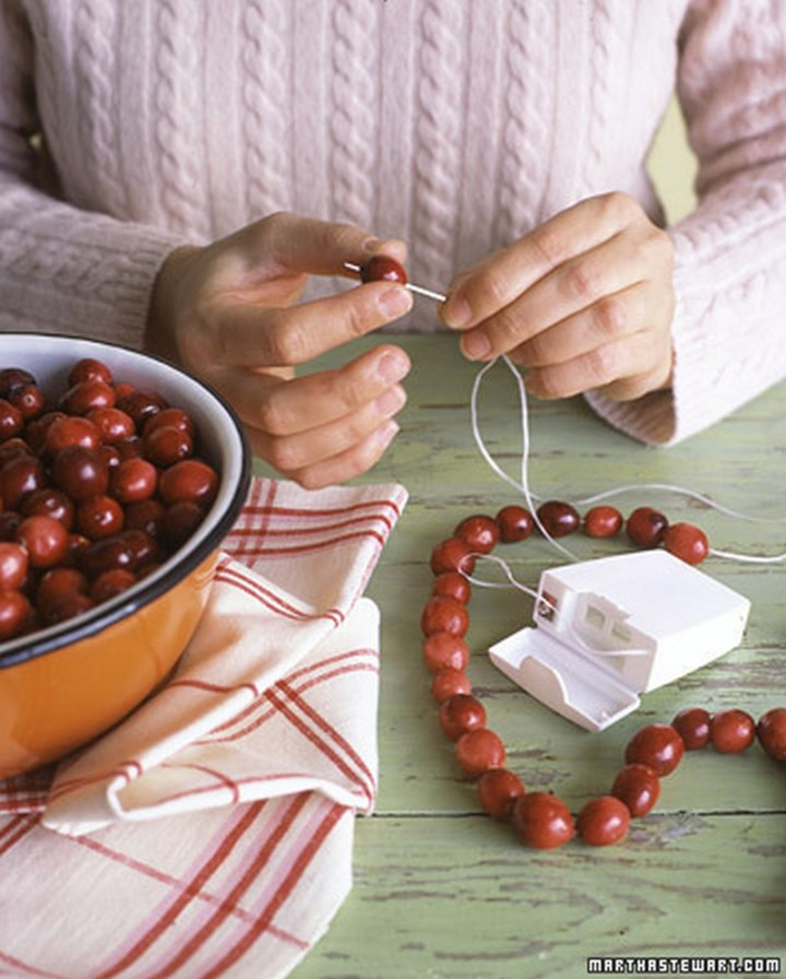 Use dental floss for cranberry or popcorn garlands