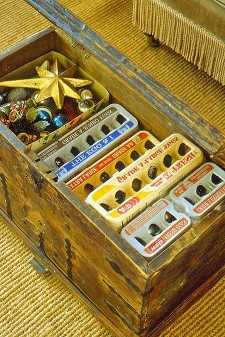 Use your leftover egg cartons to store ornaments