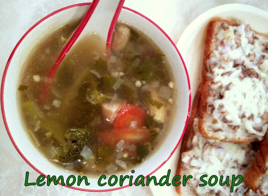 Lemon and coriander soup; a clear, tangy, vegetable soup