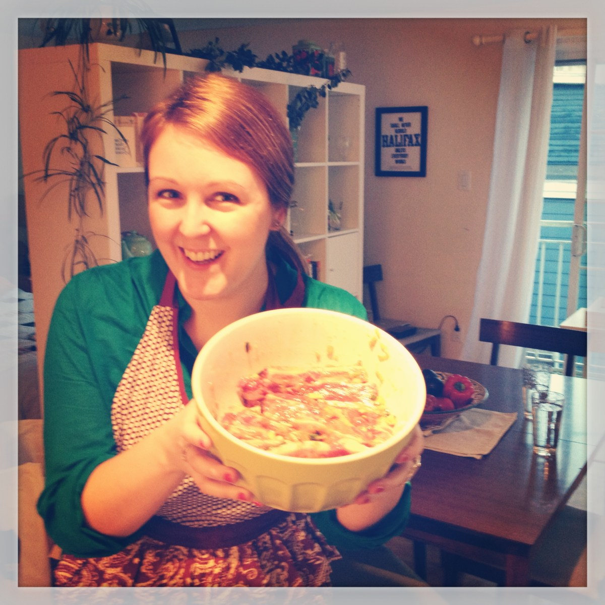 Me with the ribs marinating...they smelled amazing before they came anywhere near the stove!