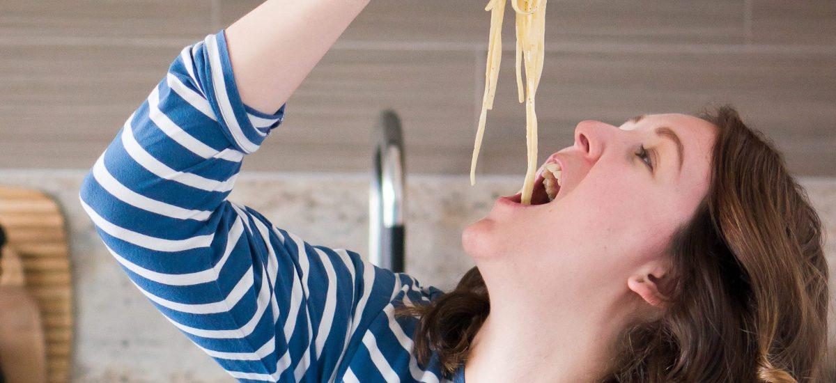 Spaghetti Carbonara eating
