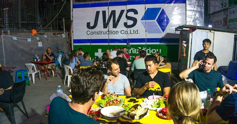 We ate dinner in a Bangkok construction site