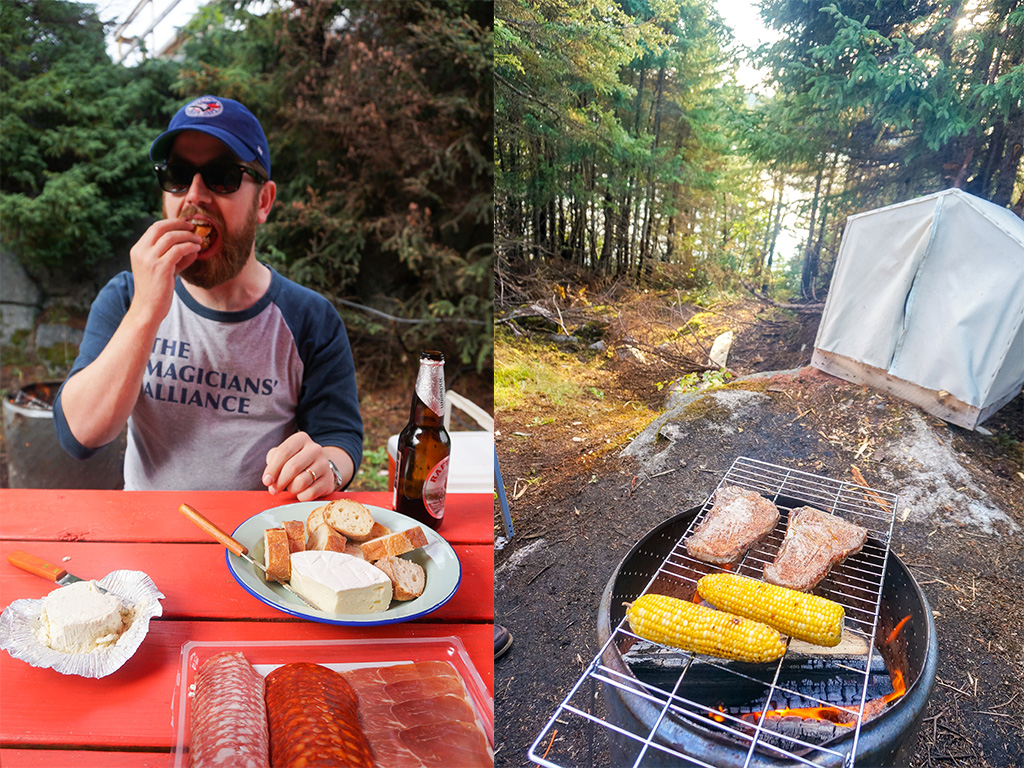 Glamping in Newfoundland Steaks on the Fire