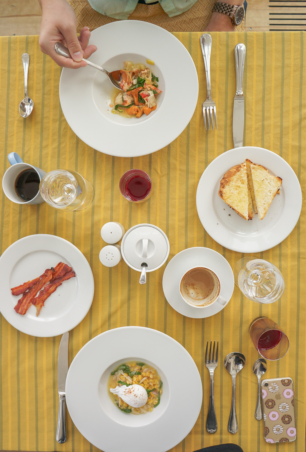 Adam Breakfast dining the Fogo Island Inn