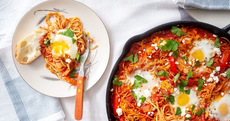 Shakshuka Spaghetti Bake