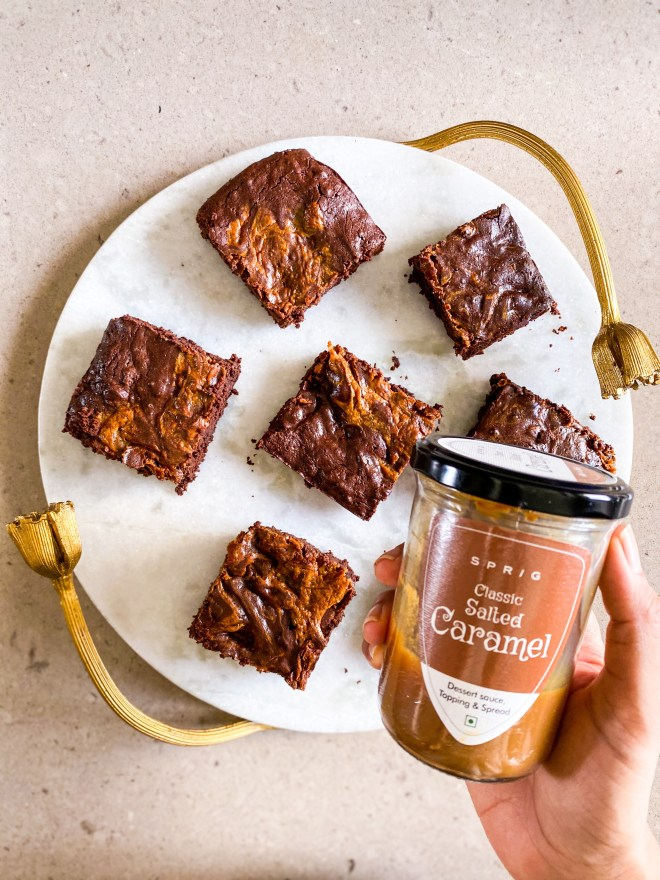 eggless salted caramel brownies recipe