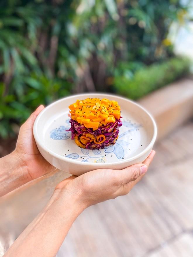 thai mango slaw cake