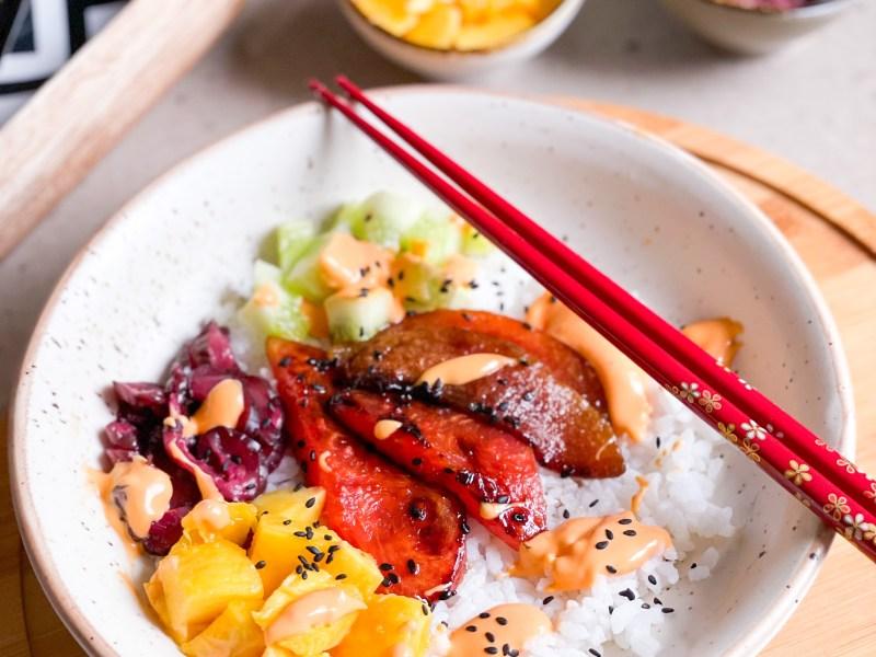 vegan watermelon tuna poke bowl