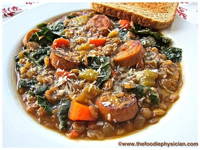 Dining with the Doc: Lentil Soup with Sausage and Greens